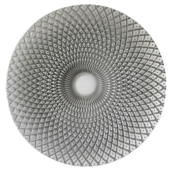 """The Jay Companies 1470325 12 3/4"""" Round Edge Silver Glass Charger Plate"""