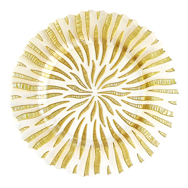 """The Jay Companies 1470326 12 3/4"""" Round Halley Gold Glass Charger Plate"""