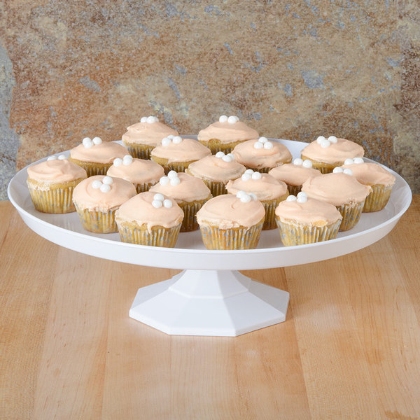 "Fineline Platter Pleasers 3601-WH 11 3/4"" Two-Piece White Cake Stand - 12/Case"