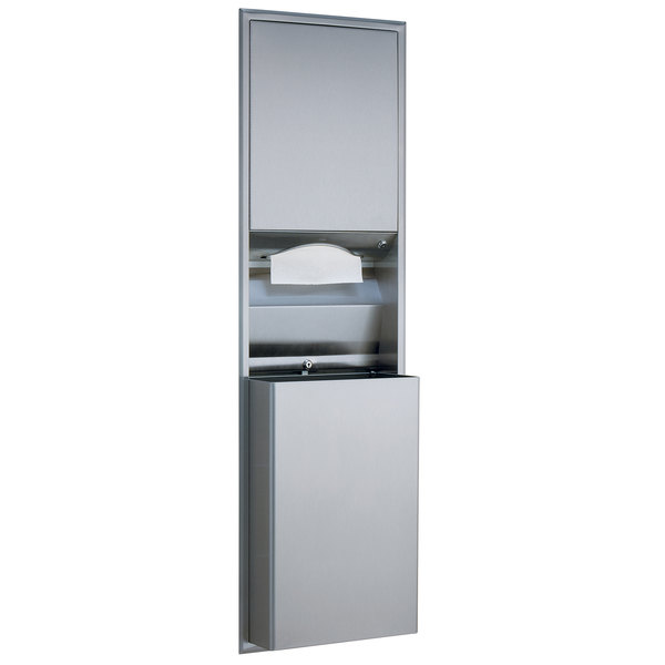 Bobrick B-3942 ClassicSeries Semi-Recessed Convertible Paper Towel Dispenser / Waste Receptacle