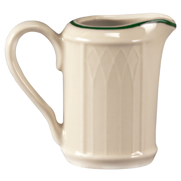 Homer Laughlin 1430-0039 Green Jade Gothic Off White 3.25 oz. Creamer - 36/Case