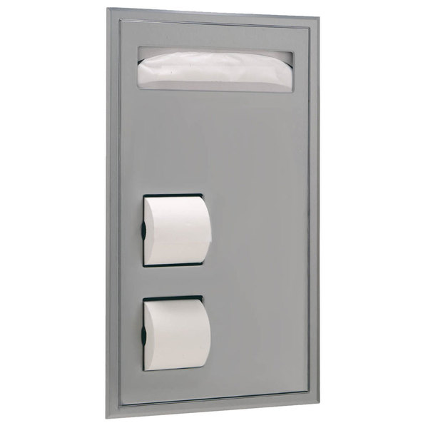 Bobrick B-3471 ClassicSeries Partition Mounted Seat Cover Dispenser and Toilet Tissue Dispenser with Clearance for Grab Bar Main Image 1
