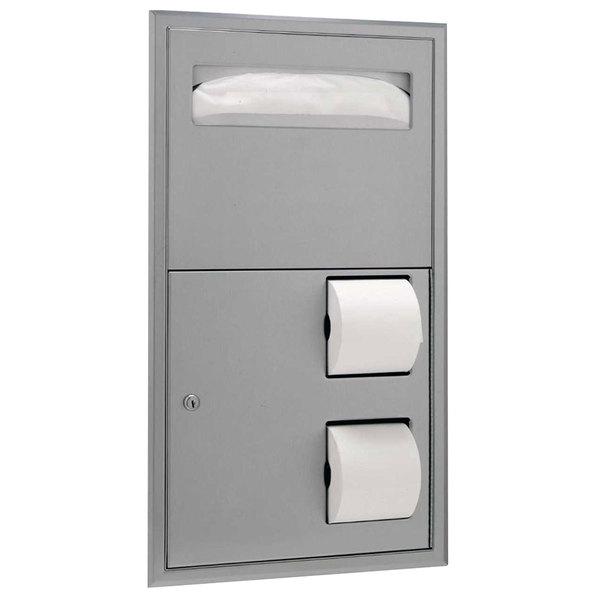 Bobrick B-3474 ClassicSeries Recessed Seat Cover Dispenser and Toilet Tissue Dispenser Main Image 1