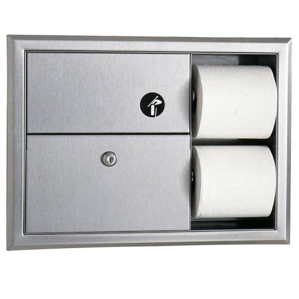 Bobrick B-3094 ClassicSeries Recessed Sanitary Napkin Disposal and Toilet Tissue Dispenser