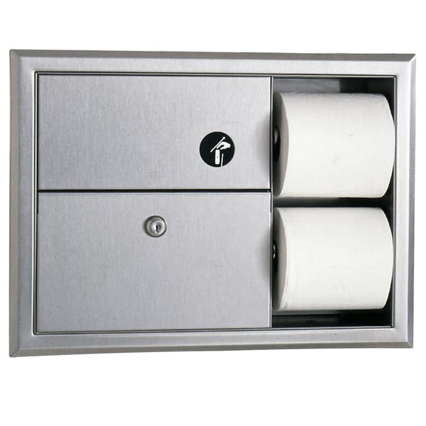 Bobrick B-3094 ClassicSeries Recessed Sanitary Napkin Disposal and Toilet Tissue Dispenser Main Image 1