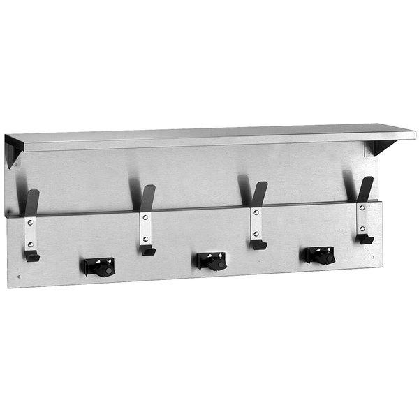 Bobrick B-239 Utility Shelf with Mop / Broom Holders and Rag Hooks