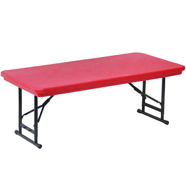 "Correll Adjustable Height Folding Table, 30"" x 72"" Plastic, Red - Short Legs - R-Series RA3072S"