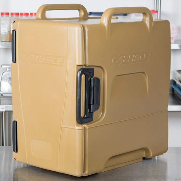 Carlisle IT40043 Cateraide™ IT Caramel Front Loading Insulated Food Pan Carrier - Holds 6 Pans