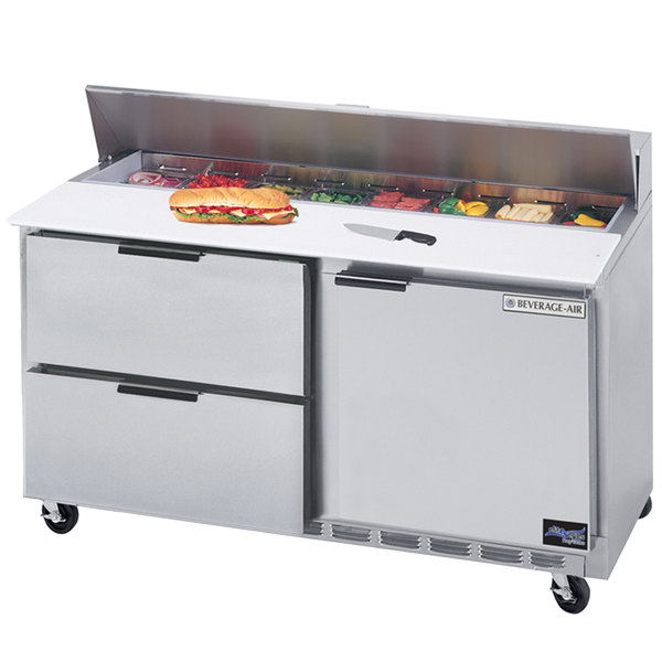 """Beverage-Air SPED60HC-12C-2 60"""" 1 Door 2 Drawer Cutting Top Refrigerated Sandwich Prep Table with 17"""" Wide Cutting Board Main Image 1"""