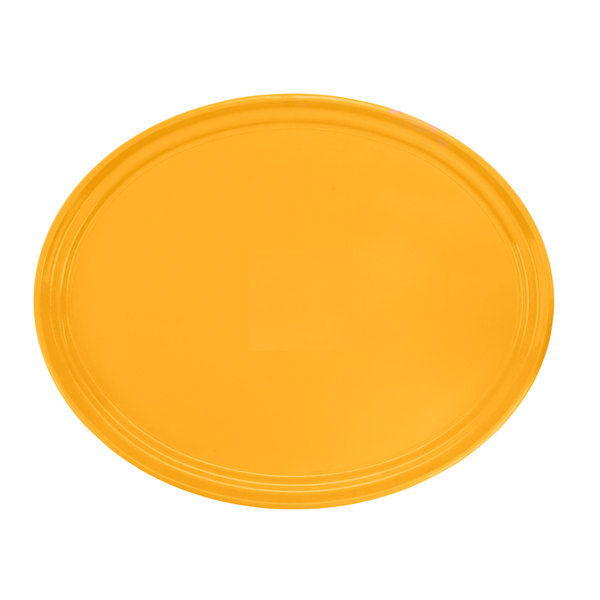 "Cambro 2700171 22"" x 26 7/8"" Oval Tuscan Gold Customizable Fiberglass Camtray - 6/Case"