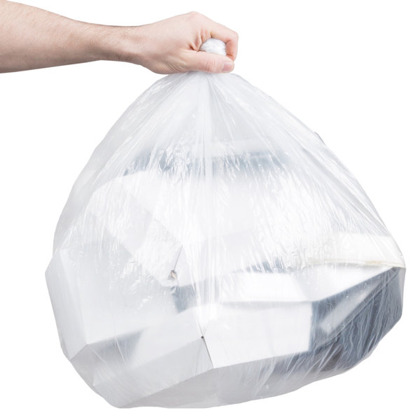 """Berry AEP 385840C 55-60 Gallon 1.6 Mil 38"""" x 58"""" Low Density Extra Heavy Duty Clear Can Liner / Trash Bag - 100/Case"""