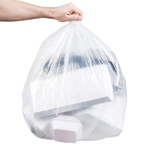 """Berry AEP 333918C 33 Gallon 0.71 Mil 33"""" x 39"""" Low Density Medium Duty Clear Can Liner / Trash Bag - 200/Case"""