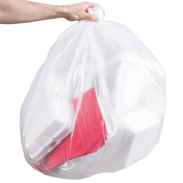 "Berry AEP 434722C 56 Gallon 0.9 Mil 43"" x 47"" Low Density Heavy Duty Clear Can Liner / Trash Bag - 100/Case Main Image 4"