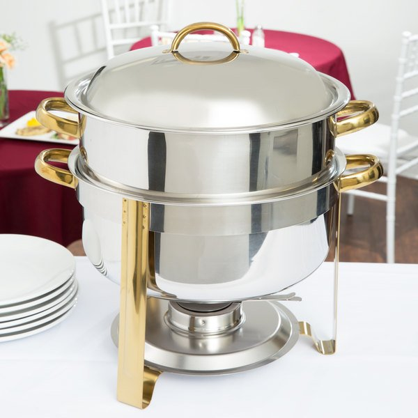 Choice Deluxe 14 Qt. Round Gold Accent Soup Chafer Main Image 3