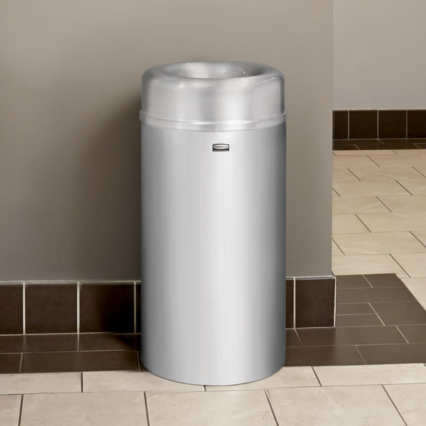 Rubbermaid FGAOT15SAPL Crowne Satin Aluminum Round Open Top Steel Waste Receptacle with Rigid Plastic Liner 15 Gallon