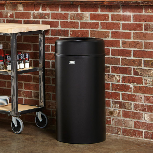 Rubbermaid FGAOT15BKPL Crowne Textured Black Round Open Top Steel Waste Receptacle with Rigid Plastic Liner 15 Gallon