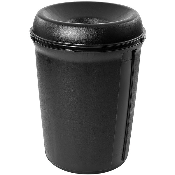Rubbermaid FG905800BLA Atrium Classic Container Black Round Funnel Top Plastic Waste Receptacle 35 Gallon