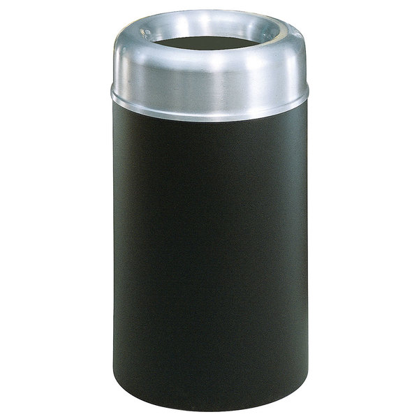 Rubbermaid FGAOT30SABKPL Crowne Textured Black with Aluminum Accents Round Open Top Steel Waste Receptacle with Rigid Plastic Liner 30 Gallon