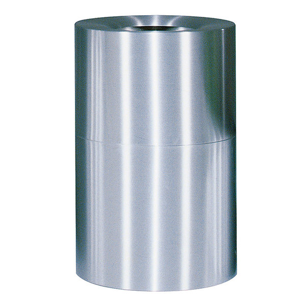 Rubbermaid FGAOT62SA Atrium Satin Finish 2-Piece Round Open Top Aluminum Waste Receptacle 55 Gallon Main Image 1