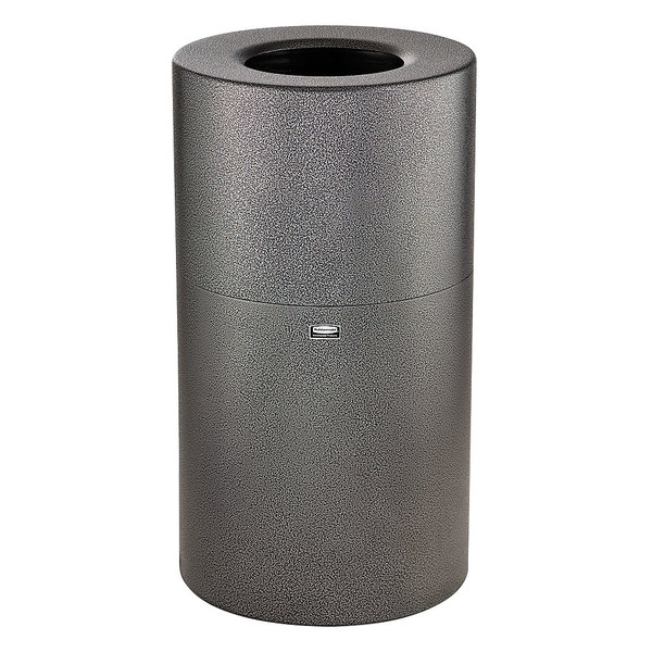 Rubbermaid FG907900SILV Atrium Hammered Silver Round Open-Top Aluminum Waste Receptacle 35 Gallon