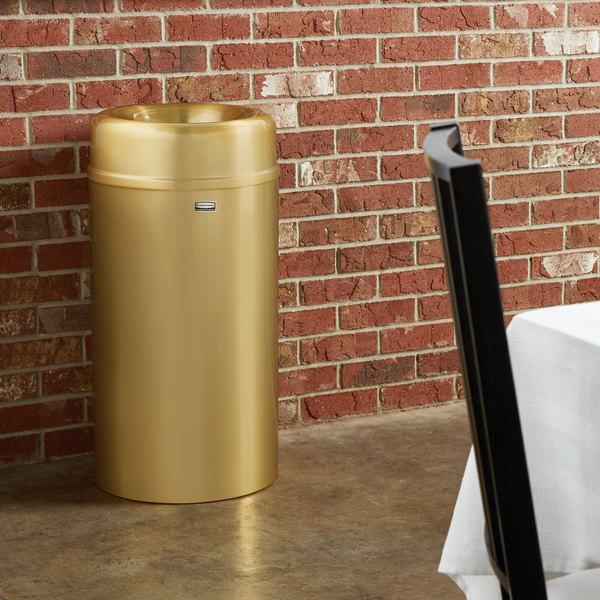 Rubbermaid FGAOT15SBPL Crowne Satin Brass Round Open Top Steel Waste Receptacle with Rigid Plastic Liner 15 Gallon