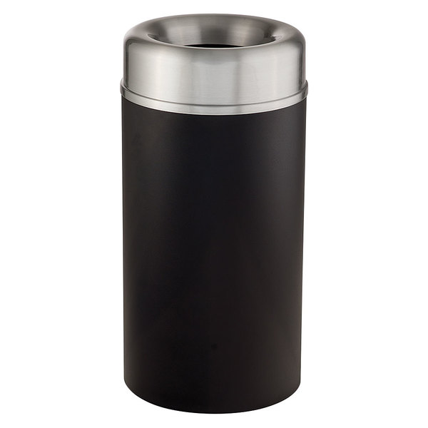 Rubbermaid FGAOT15SABKPL Crowne Textured Black with Aluminum Accents Round Open Top Steel Waste Receptacle with Rigid Plastic Liner 15 Gallon