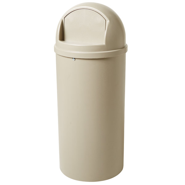 Rubbermaid FG816088BEIG Marshal Classic Beige Waste Round Resin Receptacle with Retainer Bands 60 Qt. / 15 Gallon Main Image 1