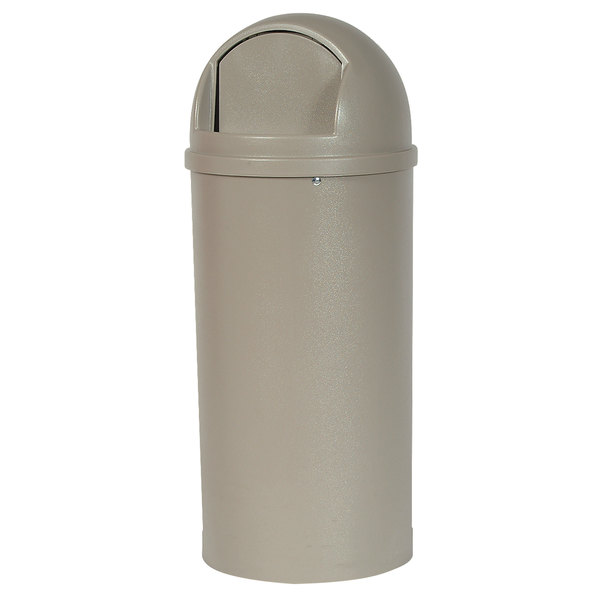 Rubbermaid FG816088BEIG Marshal Classic Beige Waste Round Fiberglass Receptacle with Retainer Bands 60 Qt. / 15 Gallon