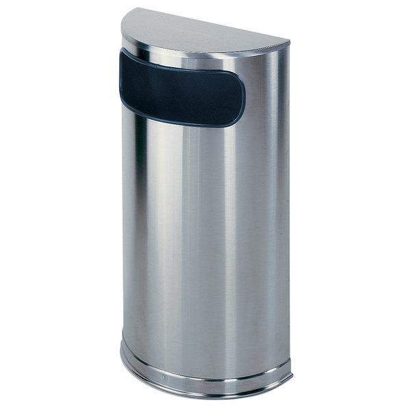 Rubbermaid FGSO8SSSPL Metallic Half Round Satin Stainless Steel Waste Receptacle with Rigid Plastic Liner 9 Gallon