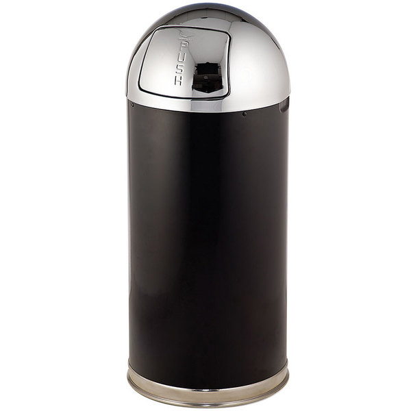 Rubbermaid FGR153620BPLBK European Black with Chrome Accents Round Steel Waste Receptacle with Rigid Plastic Liner 15 Gallon