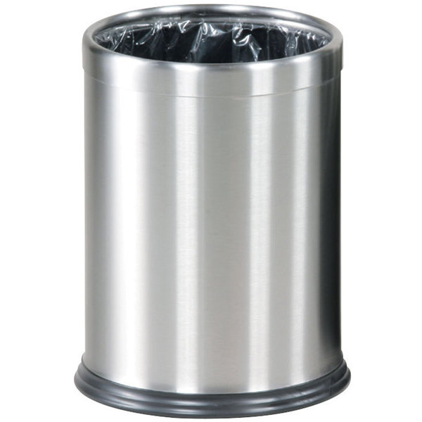 Rubbermaid FGWHB14SS Hide-A-Bag Round Stainless Steel Wastebasket 3.5 Gallon