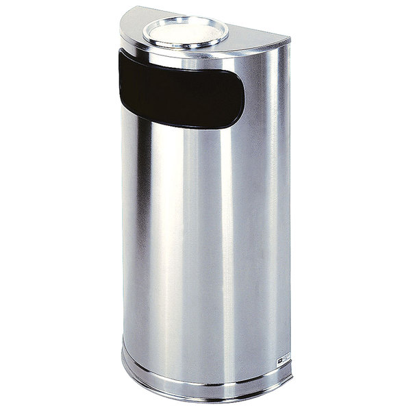 Rubbermaid FGSO8SUSSSPL Metallic Half Round Satin Stainless Steel Waste Receptacle with Rigid Plastic Liner and Sand Urn Cap Ash Tray 9 Gallon Main Image 1