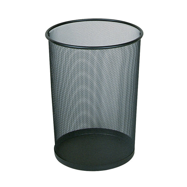 Rubbermaid FGWMB20BK Concept Collection Black Round Mesh Steel Wastebasket 5 Gallon