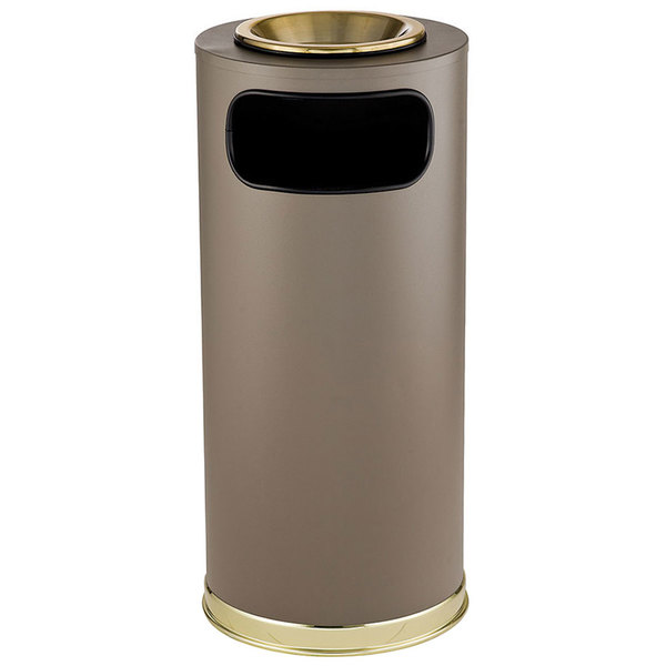 Rubbermaid FGSO17SUSBBRGL Crowne Textured Brown with Satin Brass Accents Round Steel Waste Receptacle with Galvanized Steel Liner and Sand Urn Cap Ash Tray 15 Gallon