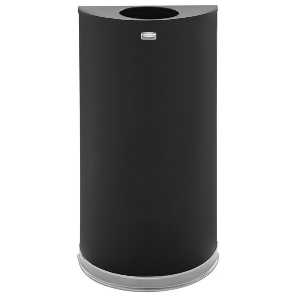 Rubbermaid FGSO1220PLBK European Black with Chrome Accents Half Round Open Top Steel Waste Receptacle with Rigid Plastic Liner 12 Gallon