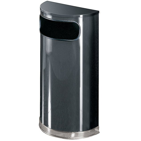 Rubbermaid FGSO820PLANT European Anthracite with Chrome Accents Half Round Steel Waste Receptacle with Rigid Plastic Liner 9 Gallon