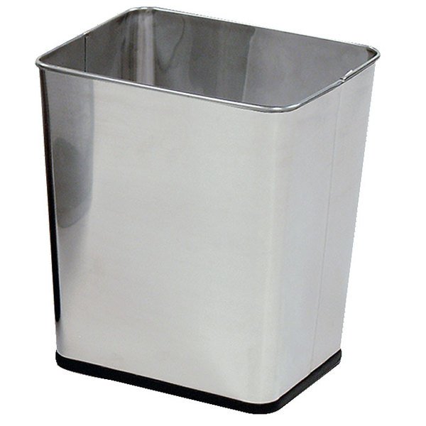 Rubbermaid FGWB29RSS Concept Collection Rectangular Stainless Steel Wastebasket 29 Qt. / 7.25 Gallon Main Image 1