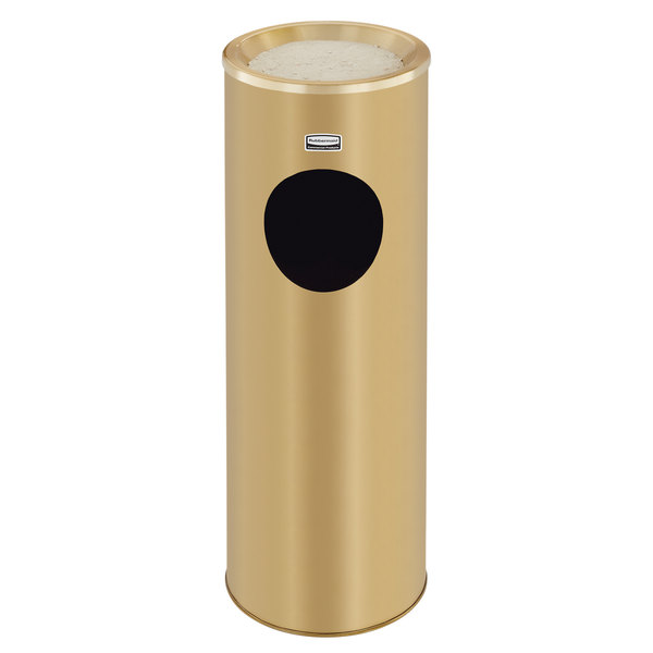 Rubbermaid FG1100SBS Metallic Series Satin Brass Stainless Steel Round Waste Receptacle with Ash Tray and Rigid Plastic Liner 3.5 Gallon