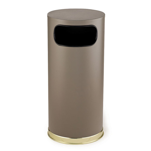 Rubbermaid FGSO17SBBRGL Crowne Textured Brown with Satin Brass Accents Round Steel Waste Receptacle with Galvanized Steel Liner 15 Gallon