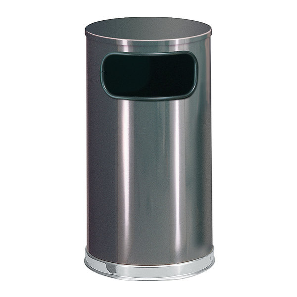 Rubbermaid FGSO1620GLANT European Anthracite with Chrome Accents Round Steel Waste Receptacle with Galvanized Steel Liner 12 Gallon