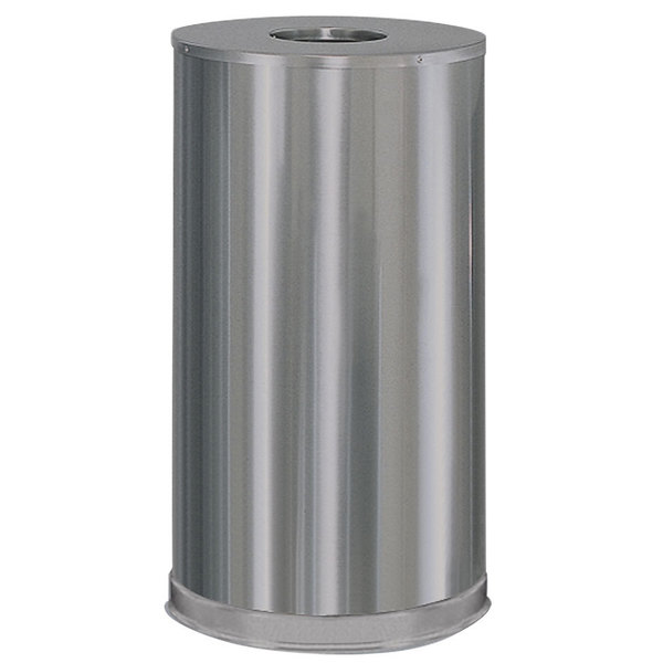 Rubbermaid FGCC16SSSGL Metallic Round Open Top Satin Stainless Steel Waste Receptacle with Galvanized Steel Liner 15 Gallon