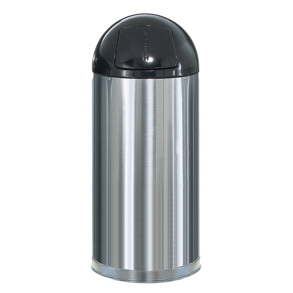 Rubbermaid FGR1536SSSGL Metallic Round Satin Stainless Steel Waste Receptacle with Galvanized Steel Liner 15 Gallon