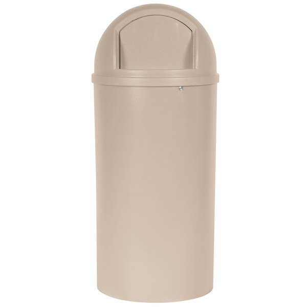 Rubbermaid FG817088BEIG Marshal Classic Beige Round Fiberglass Waste Receptacle with Retainer Bands 25 Gallon