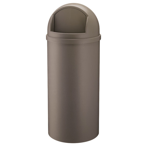 Rubbermaid FG816088BRN Marshal Classic Brown Round Resin Waste Receptacle with Retainer Bands 60 Qt. / 15 Gallon Main Image 1