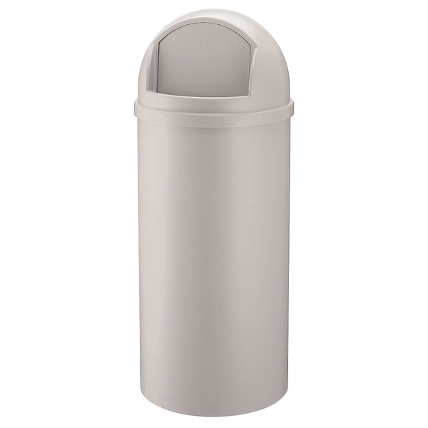 Rubbermaid FG816088OWHT Marshal Classic Off White Round Resin Waste Receptacle with Retainer Bands 60 Qt. / 15 Gallon Main Image 1