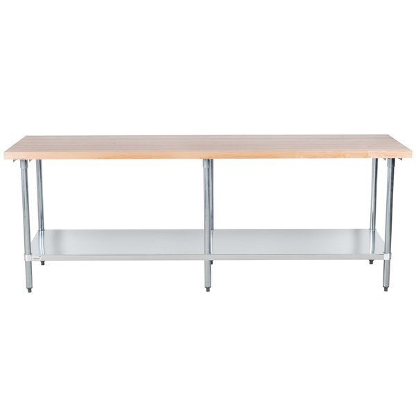 """Advance Tabco H2G-368 Wood Top Work Table with Galvanized Base and Undershelf - 36"""" x 96"""""""