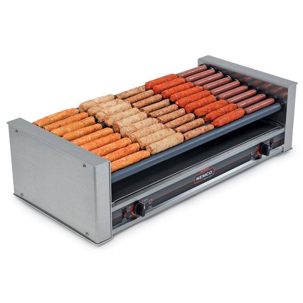 Nemco 8045W-SLT-220 Wide Slanted Hot Dog Roller Grill - 45 Hot Dog Capacity (220V)