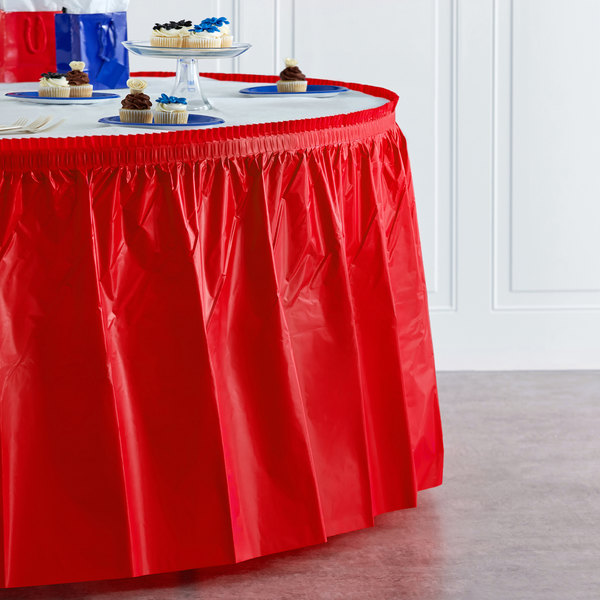 """Red Plastic Table Skirt 14' x 29"""" Main Image 4"""