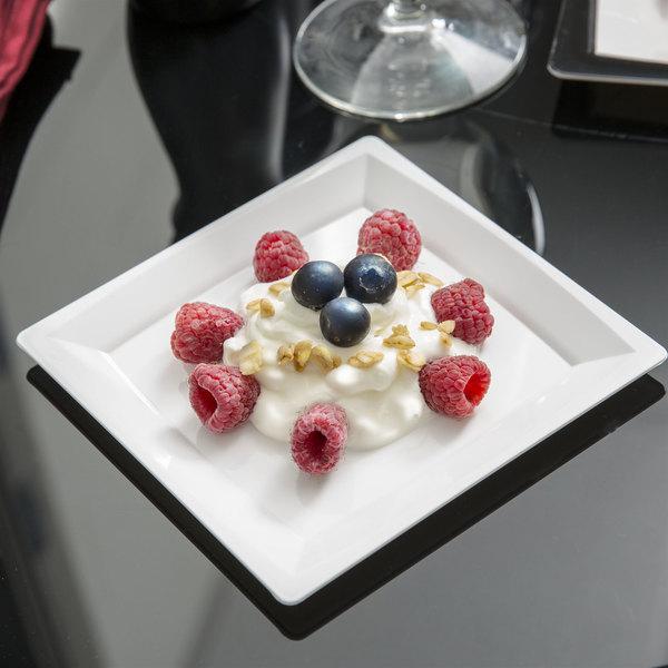 """WNA Comet MS6W 5 1/4"""" White Square Milan Plastic Dessert Plate - 168/Case Main Image 4"""
