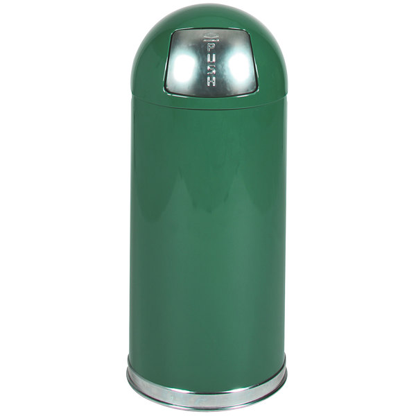 Rubbermaid FGR1536EPLSPGN Round-Tops Spruce Green with Chrome Accents Steel Waste Receptacle with Rigid Plastic Liner 15 Gallon